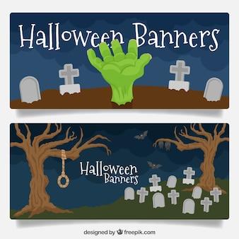 Halloween banners with tombstones