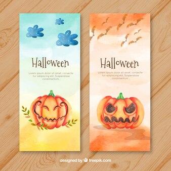 Halloween banners with watercolor pumpkins
