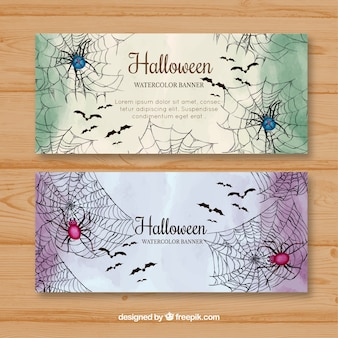 Halloween banners with watercolor spiders