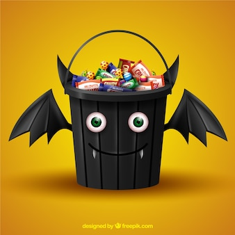 Halloween candy bucket with bat face
