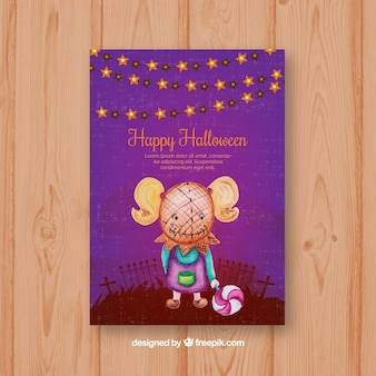 Halloween card with girl wearing a creepy mask