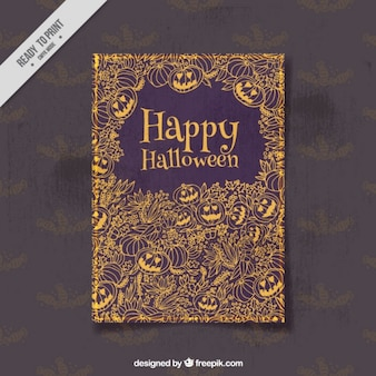 Halloween card with pumpkins and vegetation