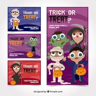 Halloween cards with dressed up children