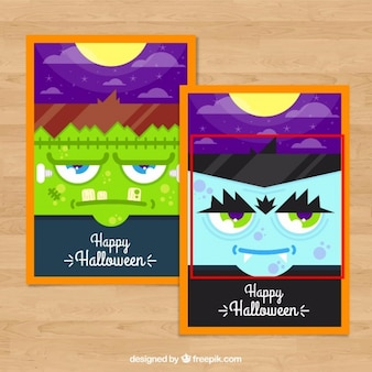 Halloween cards with zombies faces