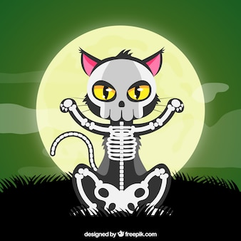 Halloween cat with skeleton