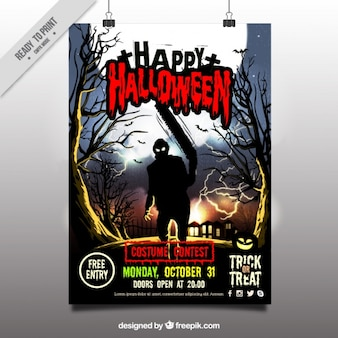 Halloween celebration poster with zombie