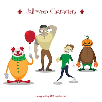 Halloween characters on a white background