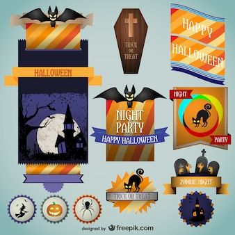 Halloween colorful stickers set