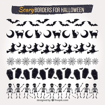 Halloween decorative borders set