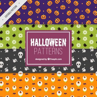 halloween decorative patterns set