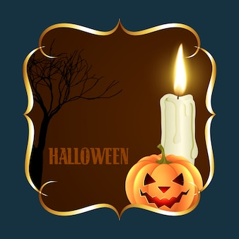 Halloween design with candle and pumpkin
