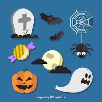 Halloween elements on a blue background