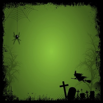 Halloween elements on an green background