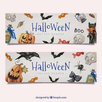 Halloween elements watercolor banner
