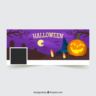 Halloween facebook cover with pumpkin in the cemetery