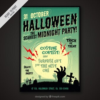 Halloween flyer with a cemetery in vintage style