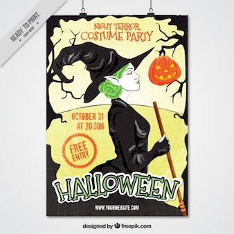Halloween flyer with a green-haired witch
