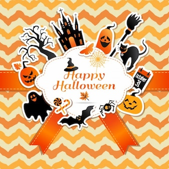 Halloween frame with funny stickers of celebration symbols