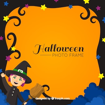 Halloween frame with witch and broom