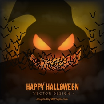 Halloween ghost background with bats
