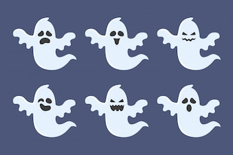 Halloween ghost character collection with expressions. Vector illustration