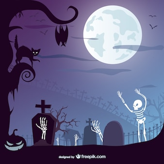 Halloween graveyard with a black cat and skeletons