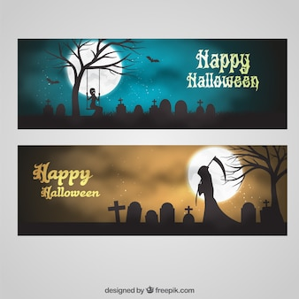 Halloween greeting banners