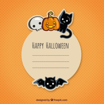 Halloween greeting card in cute style