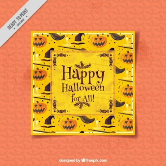 Halloween greeting card in watercolor style