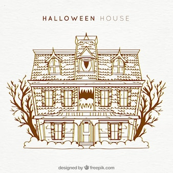 Halloween house with vintage style
