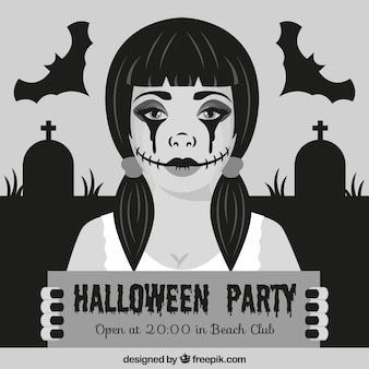 Halloween invitation with a goth woman