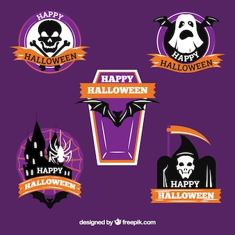 Halloween labels with ribbons