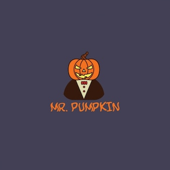 Halloween logo with a pumpkin