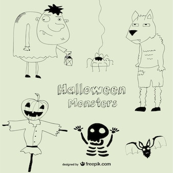 Halloween monsters drawing collection