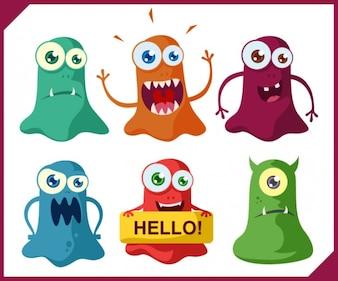 Halloween monsters smiling vector set