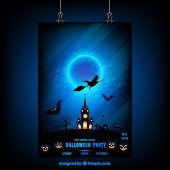 Halloween night poster with a witch and haunted house
