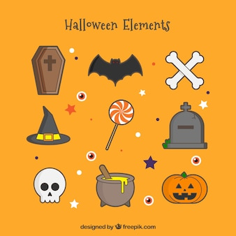 Halloween objects in a cute style