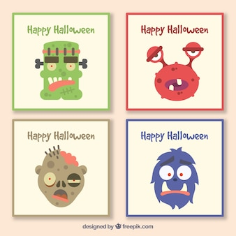 Halloween pack of cards with monsters