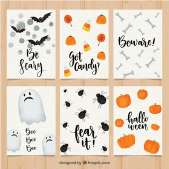 Halloween pack of watercolor cards