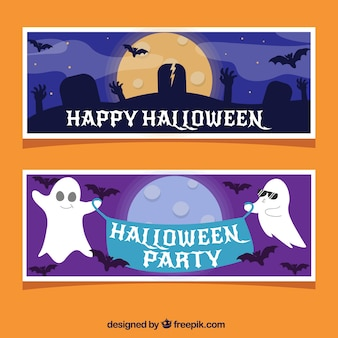 Halloween party banners with ghosts and tombs