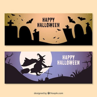 Halloween party banners with silhouettes
