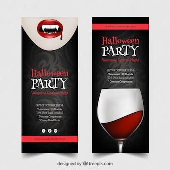 Хэллоуин-баннеры с вампиром и напитками