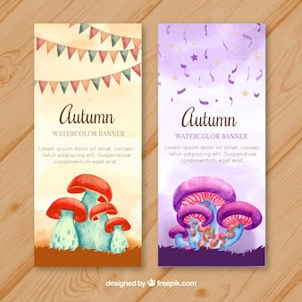 Halloween party banners with watercolor mushrooms