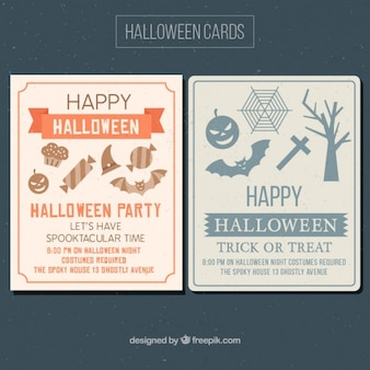 Halloween party cards with creepy items