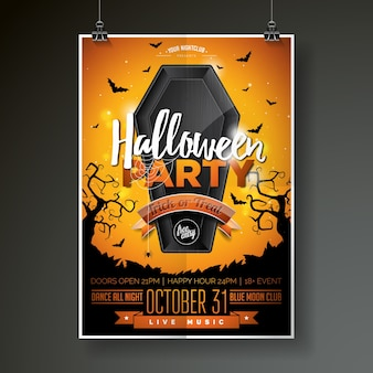 Halloween Party flyer vector illustration with black coffin on orange sky background. Holiday design with spiders and bats for party invitation, greeting card, banner, poster.