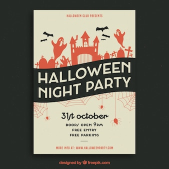 Плакат для вечеринки на Хэллоуин в ретро-эстуло