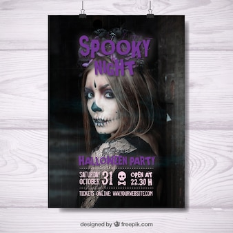 Halloween party poster of creepy night