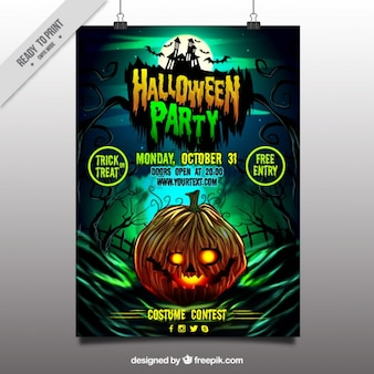 Halloween party poster of pumpkin
