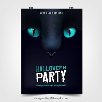 Halloween party poster with black cat
