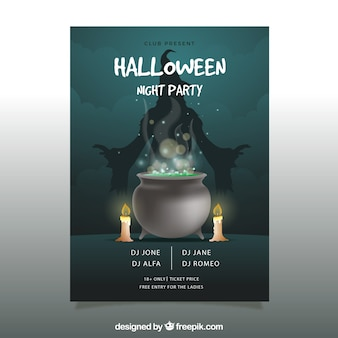 Halloween party poster with cauldron